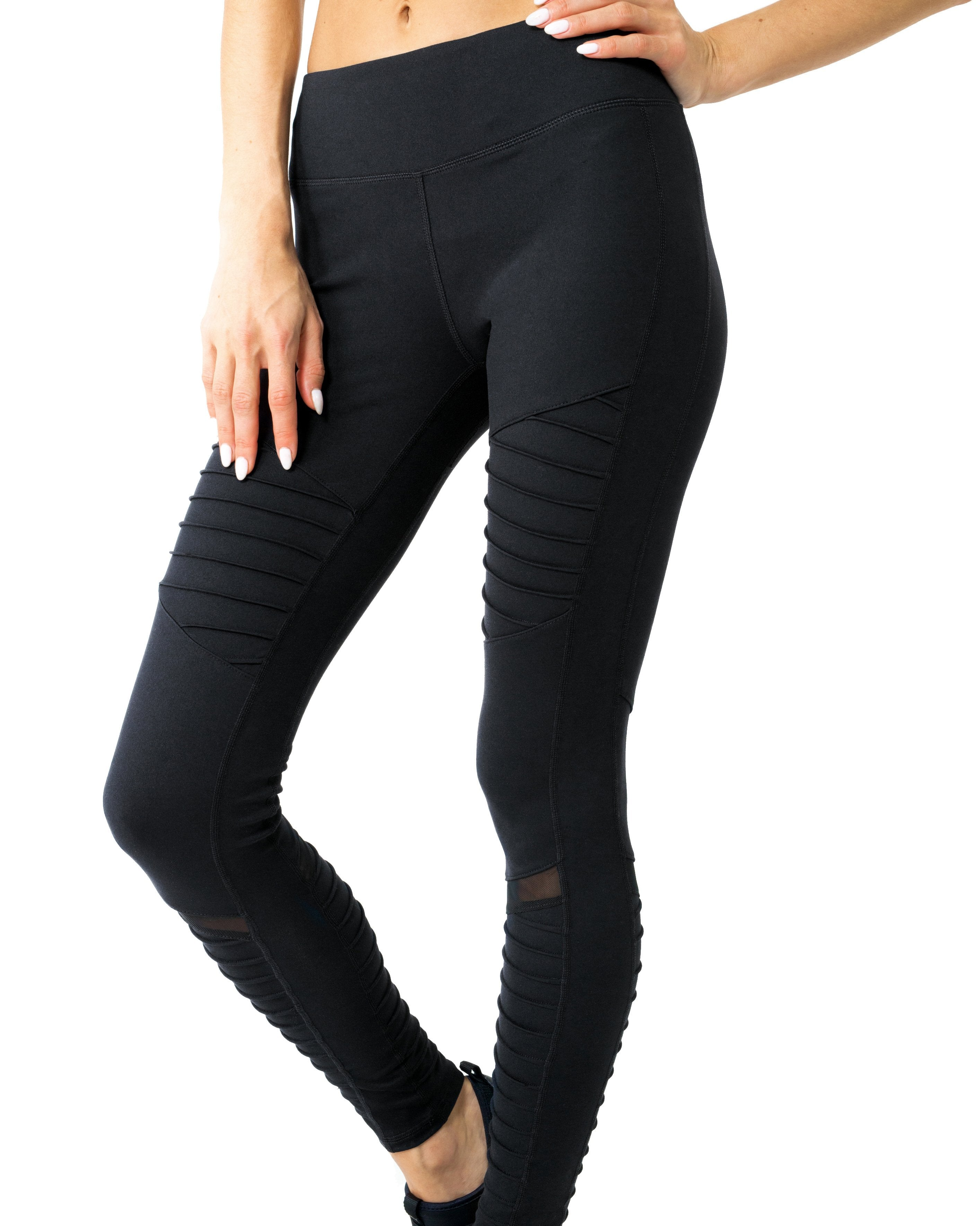 Athletique Low-Waisted Ribbed Leggings With Hidden Pocket and Mesh Panels - Black