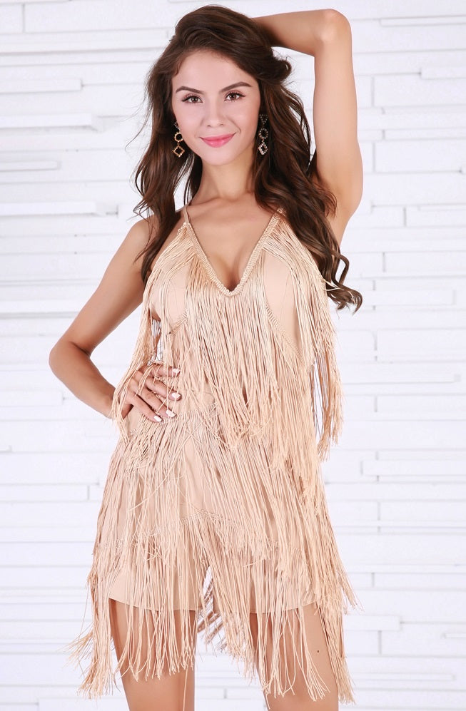 Beige Fringe Play Suit
