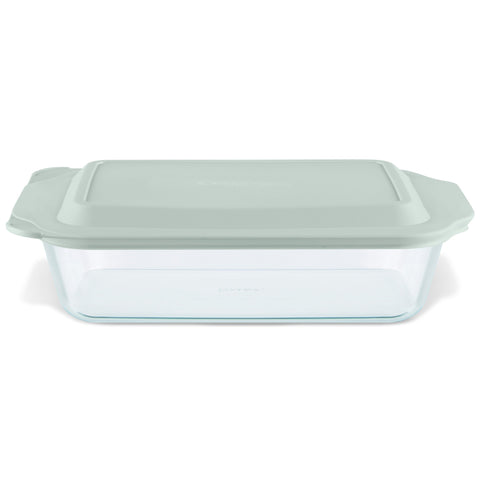 Pyrex Deep Dish 27.9cm Oblong Baker with Sage Lid-1134584