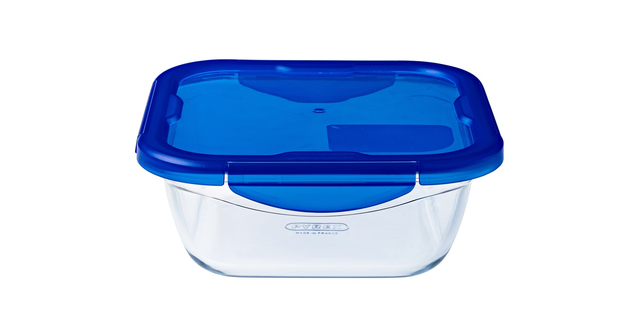 Pyrex Cook & Go Storage 800mL Square with Blue 4 Lock Lid-1129043