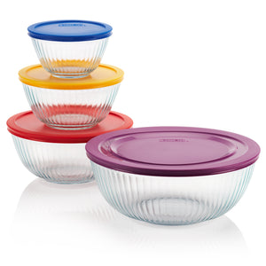 Pyrex Sculptured 8 Piece Bowl Set with Coloured Lids-1112377