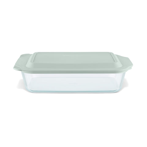 Pyrex Deep Dish 33cm Oblong Baker with Sage Lid-1134582