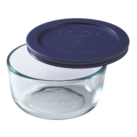 Pyrex Simply Storage Blue Lid 2 Cup Round-6017399