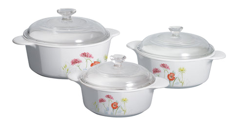 Corningware Classics Daisy Field 6 Piece Covered Casserole Set-P-360-DSF