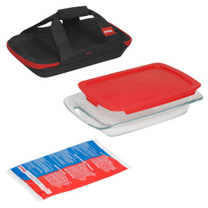 Pyrex 4 Piece Portable with Black Carry Bag Set-1102266