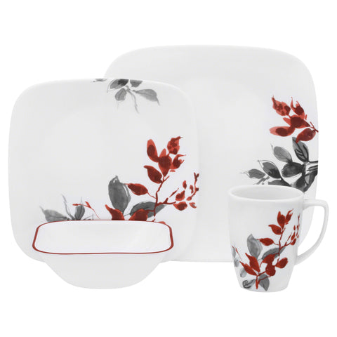 Corelle Boutique Square Kyoto Leaves 16 Piece Set-1101078