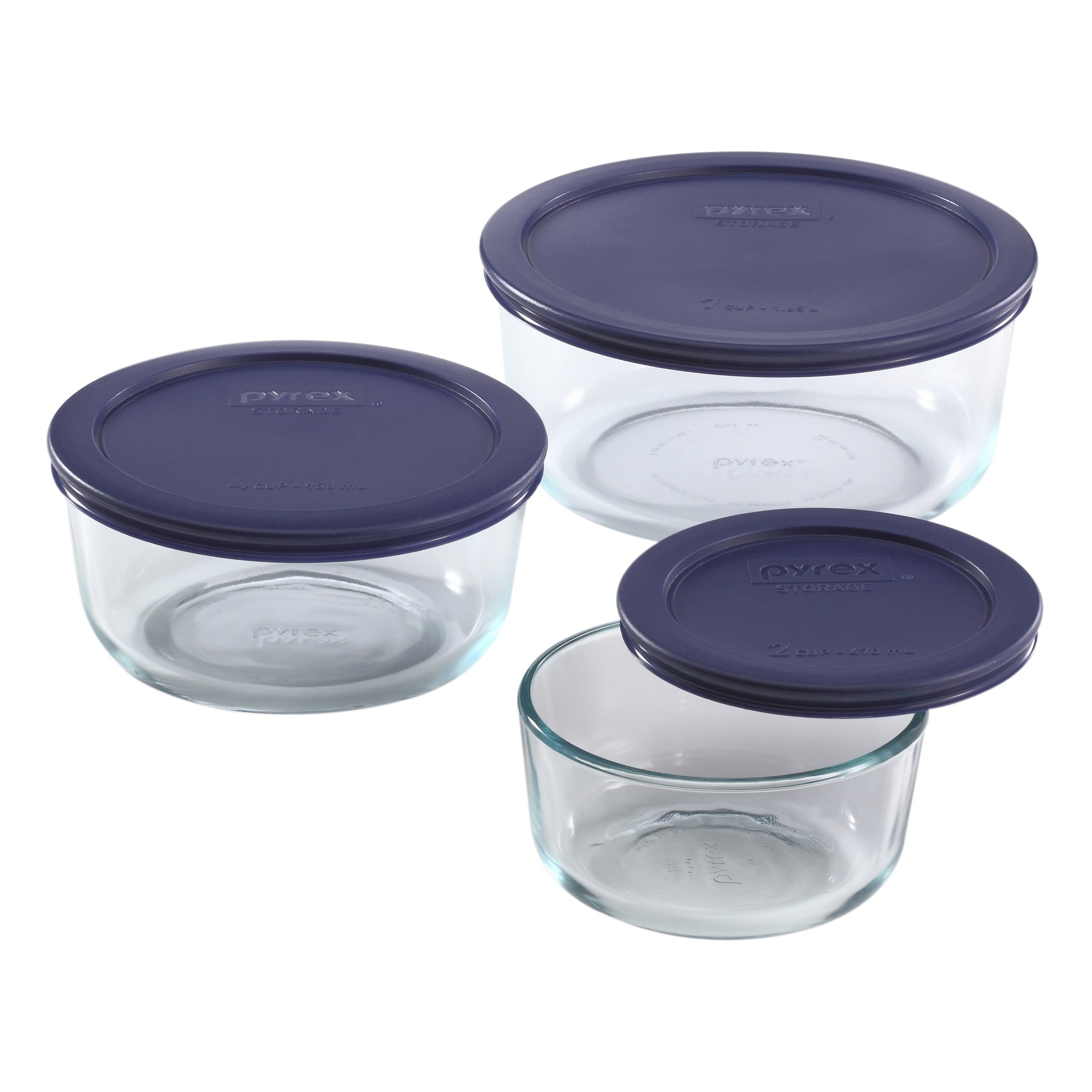 Pyrex SS 6 Piece Round Set with Blue Lids-6010170