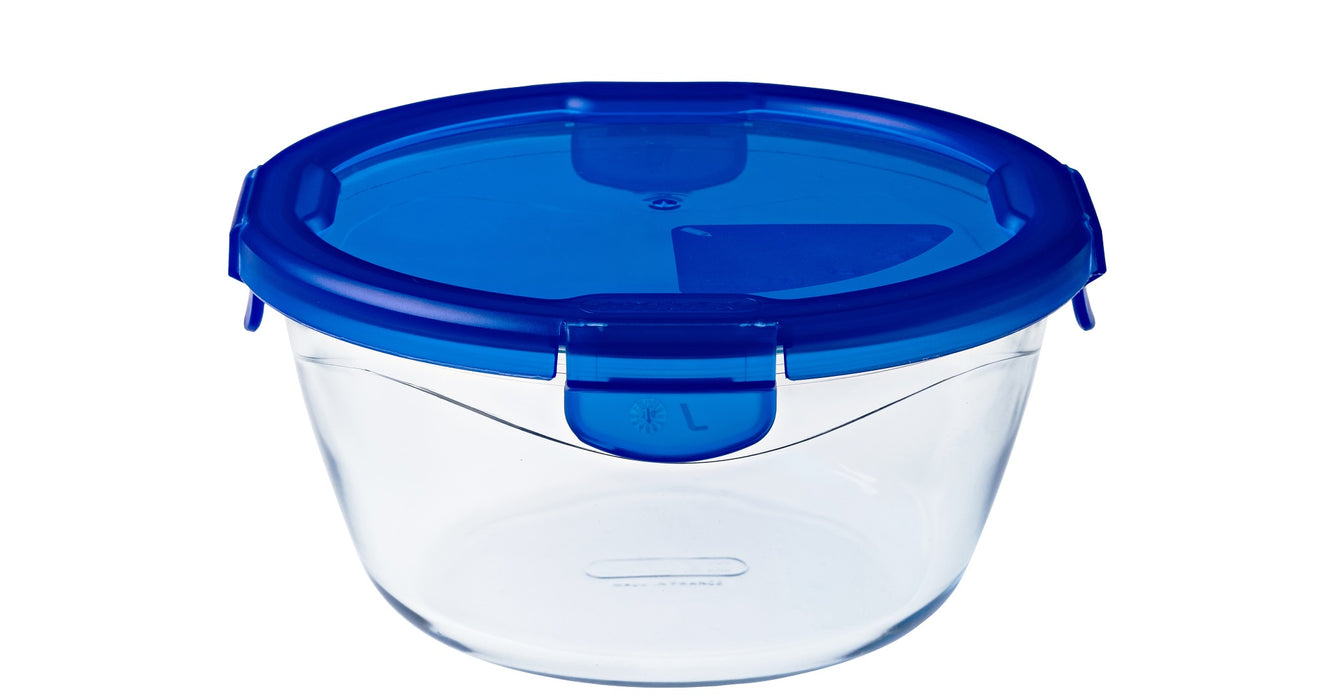 Pyrex Cook & Go Storage 1.6L Round with Blue 4 Lock Lid-1129046