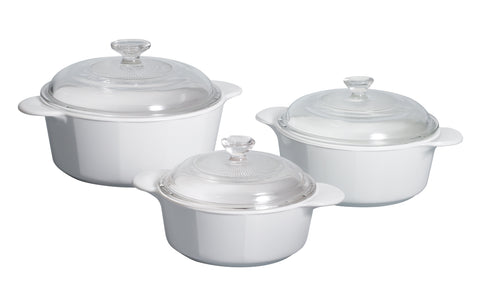 Corningware Classics Just White 6 Piece Covered Casserole Set-P-360-JW