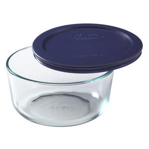Pyrex Simply Storage Blue Lid 4 Cup Round-6017398