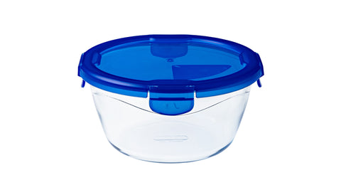 Pyrex Cook & Go Storage 700mL Round with Blue 4 Lock Lid-1129045