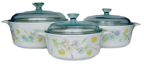 Corningware Classics Pastel Bouquet 6 Piece Covered Casserole Set-P-360-93