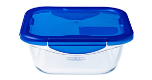 Pyrex Cook & Go Storage 1.9L Square with Blue 4 Lock Lid-1129044