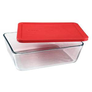 Pyrex Simply Storage Red Lid 11 Cup Rectangle Storage-1075451