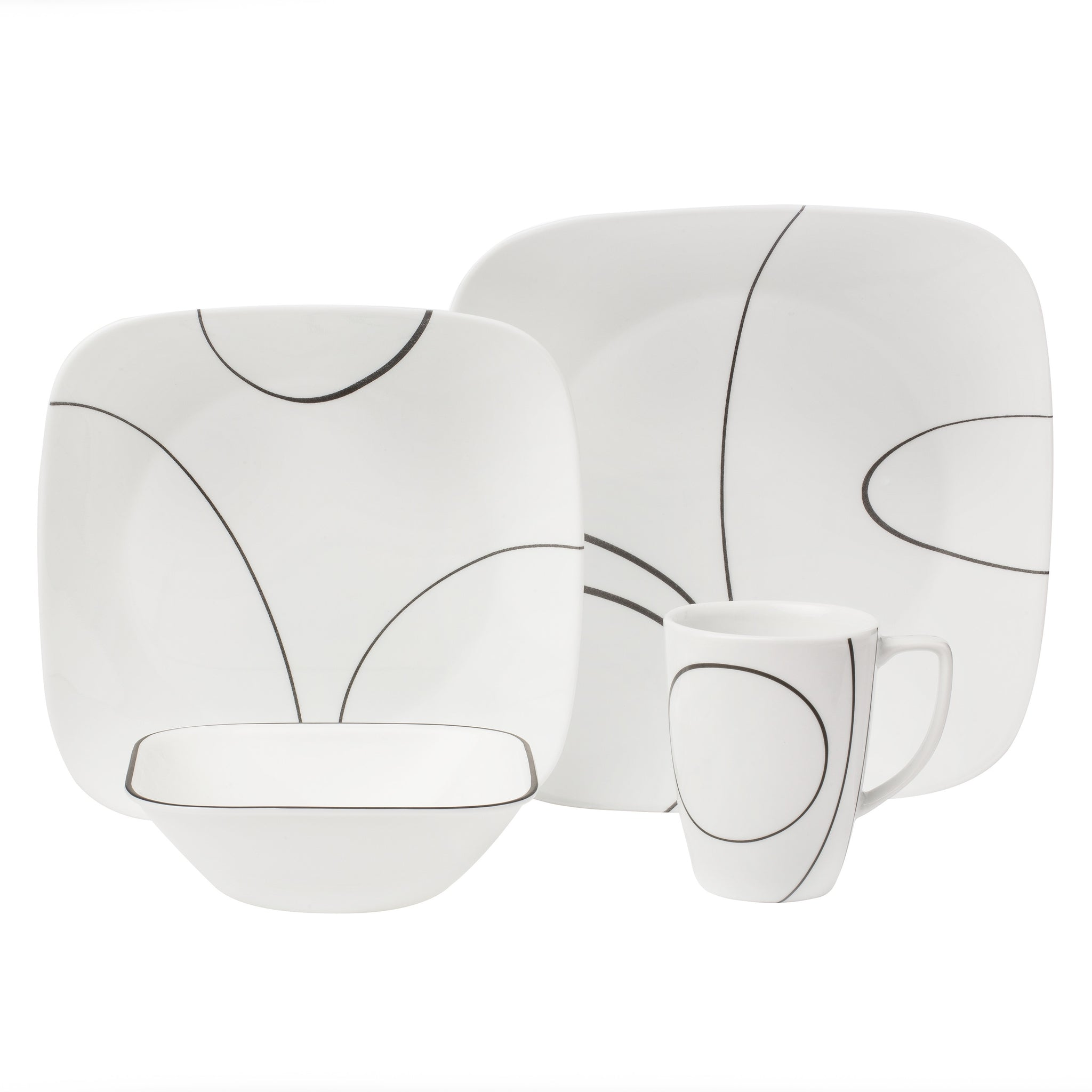 Corelle Square Simple Lines 16 Piece Set-1069983