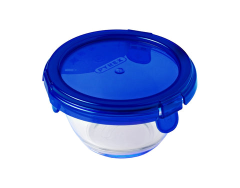 Pyrex Cook & Go Storage 200mL Round with Blue 4 Lock Lid-1135120