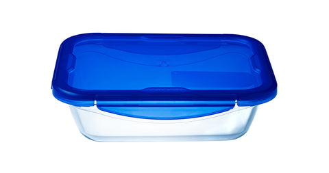 Pyrex Cook & Go Storage 800mL Rectangle with Blue 4 Lock Lid-1128940
