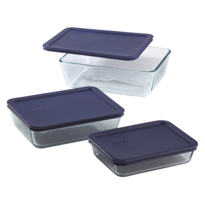 Pyrex SS 6 Piece Rectangle Set with Blue Lids-6004023