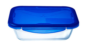 Pyrex Cook & Go Storage 1.7L Rectangle with Blue 4 Lock Lid-1129041