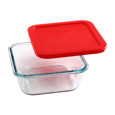 Pyrex Simply Storage Red Lid 4 Cup Square-1109131