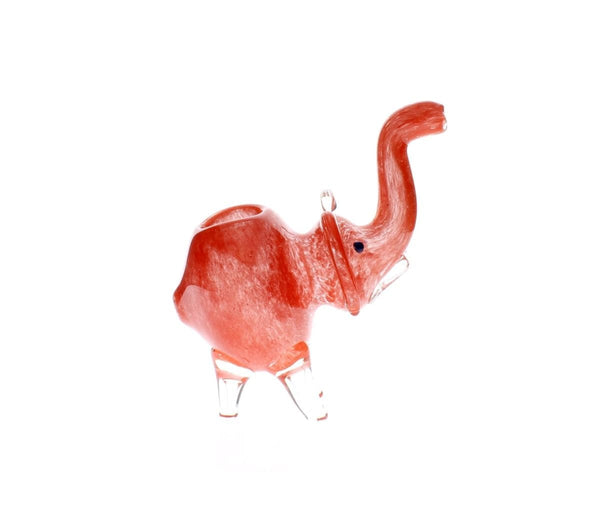 Cute Big Elephant Glass Spoon Pipe Red