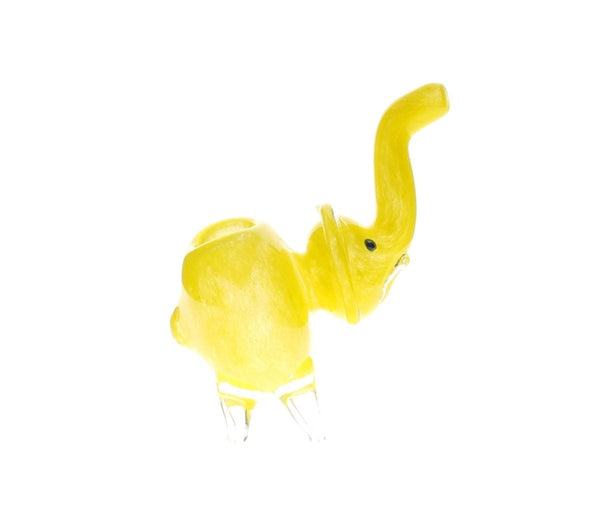 Cute Big Elephant Glass Spoon Pipe Yellow