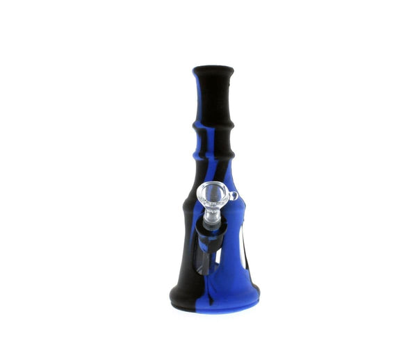 Double Trouble Silicon/glass Hybrid Waterpipe Blue