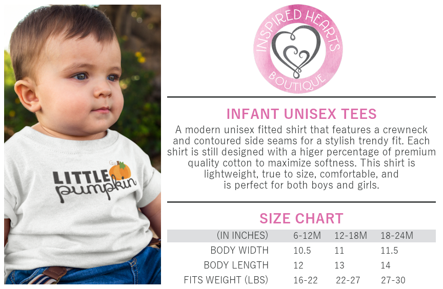 Infant Unisex Tee Sizing Chart