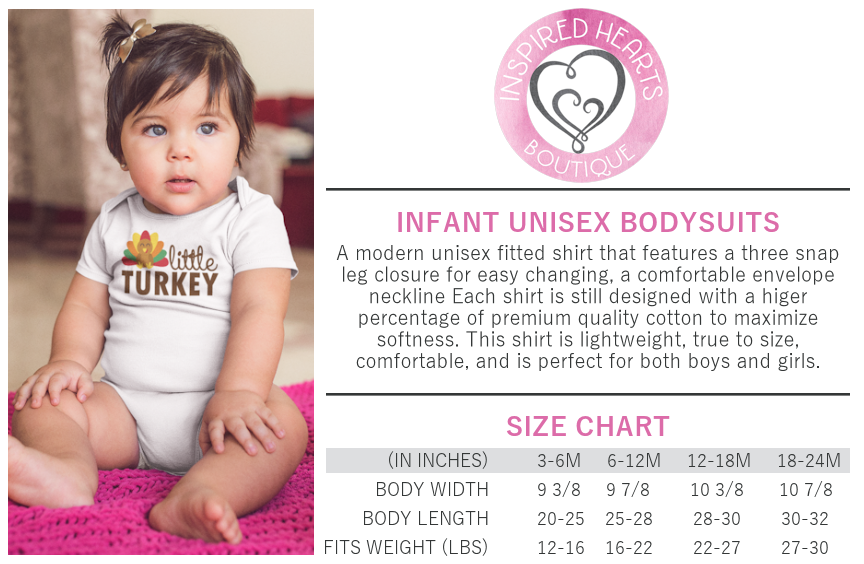 Infant Bodysuit Unisex Tee Sizing Chart