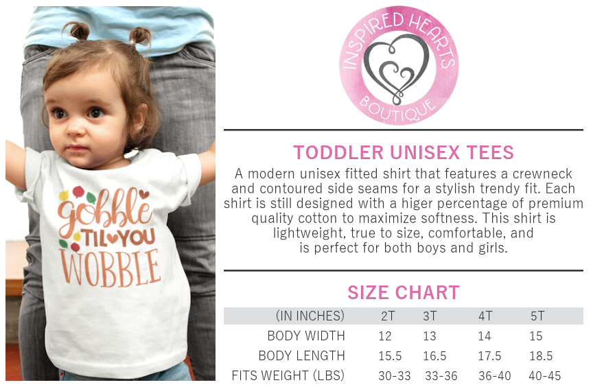 Inspired Hearts Boutique Toddler Shirt Sizing Chart