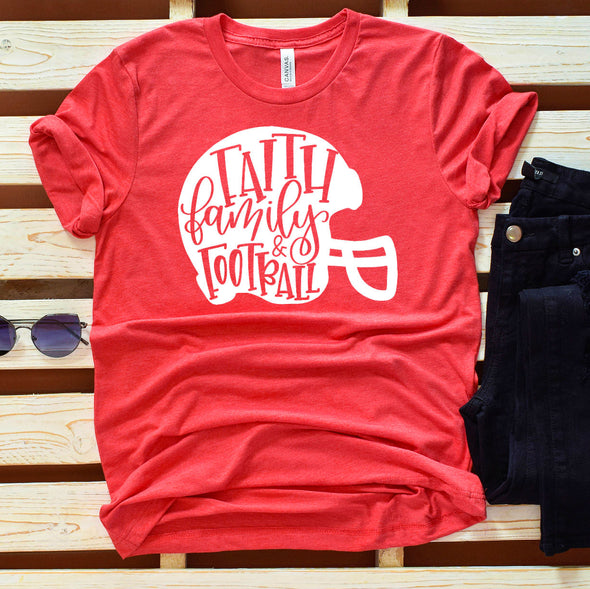 Faith Family Football Colored Tee - Inspired Hearts Boutique