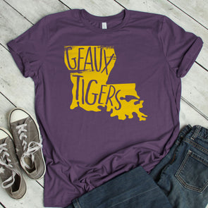 Geaux Tigers Purple Tee - Inspired Hearts Boutique