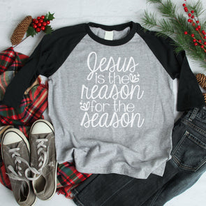 Jesus Is The Reason For The Season Baseball Tee - Inspired Hearts Boutique