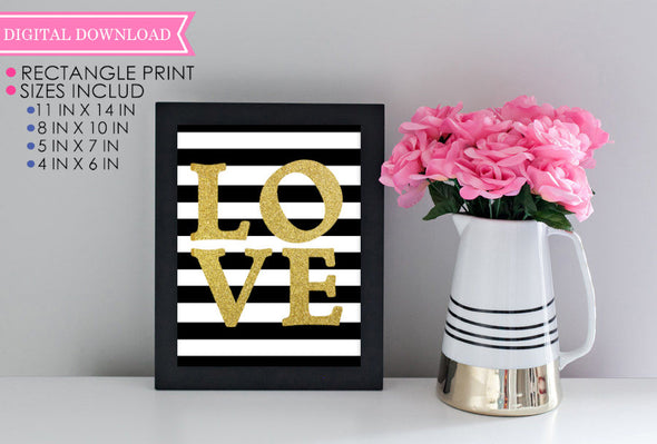 Glitter Gold Love Wall Print