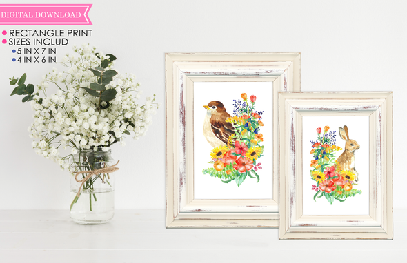 Spring Bird and Bunny Wall Print