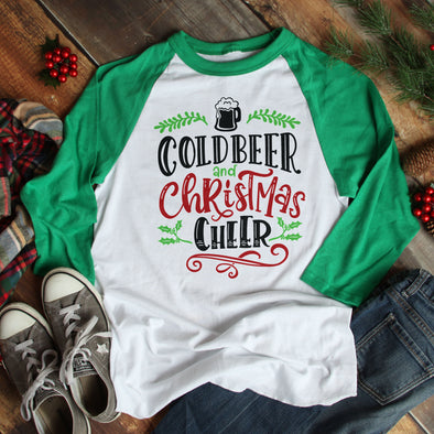 Cold Beer Christmas Cheer Baseball Tee - Inspired Hearts Boutique