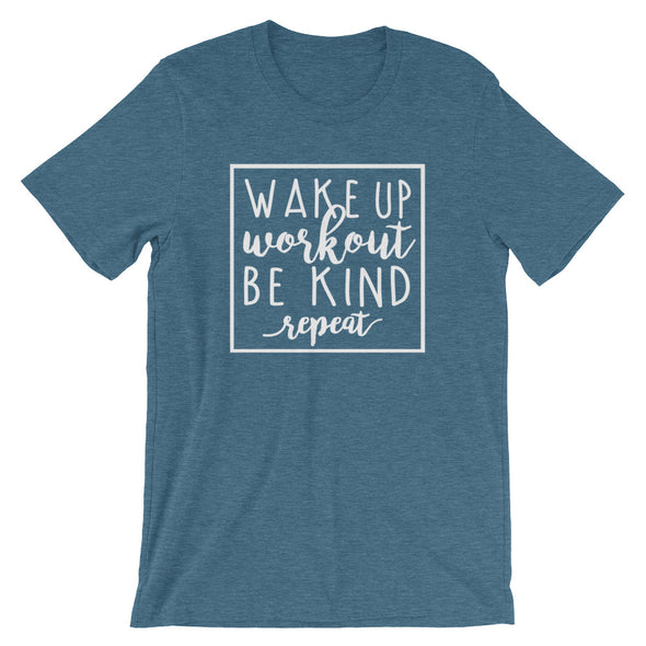Wake Up, Workout, Be Kind, Repeat Tee - Inspired Hearts Boutique