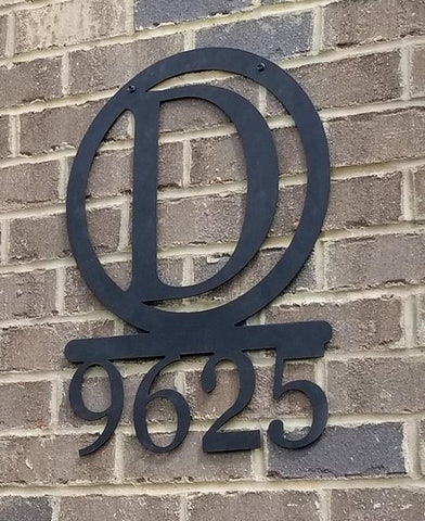 Block Monogram Address Sign