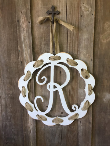Ribbon Wreath Monogram with Janda Font