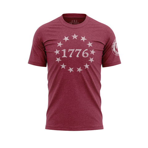 1776 13 Stars On Heather Red Patriotic Men's T-Shirt 461 Veteran Clothing Co.