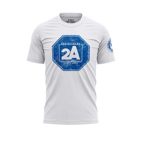 Protected By 2A Patriotic Premium Men's White T-Shirt 461 Veteran Clothing Co.