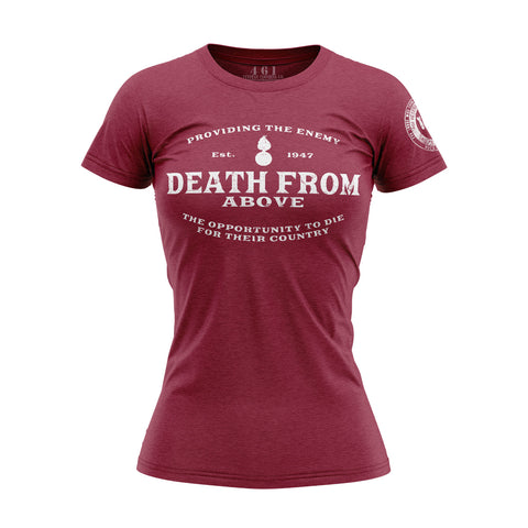 Death From Above Pisspot Red Women's Shirt For Female AMMO Troops 461 Veteran Clothing Co.