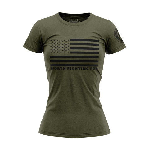 Worth Fighting For American Flag Women's T-Shirt 461 Veteran Clothing Co.