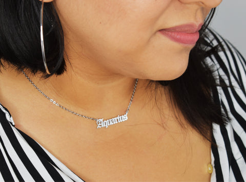 spiritual valentines day gifts - zodiac script necklaces