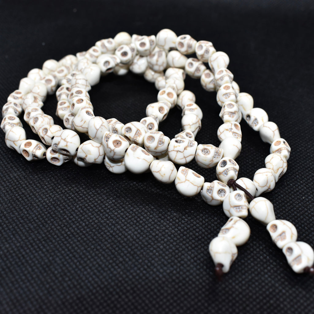 White-Howlite-Skull-108-Beads-Mala-Necklace
