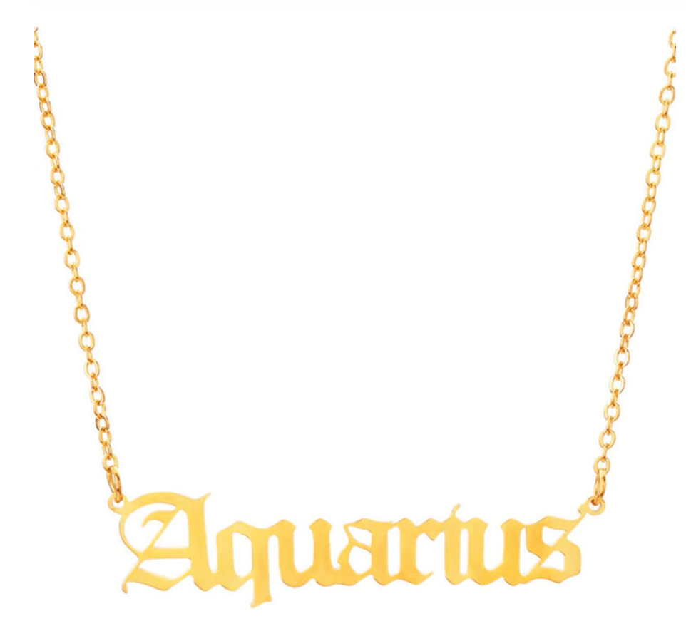 aquarius script necklace gold
