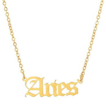 aries script necklace gold