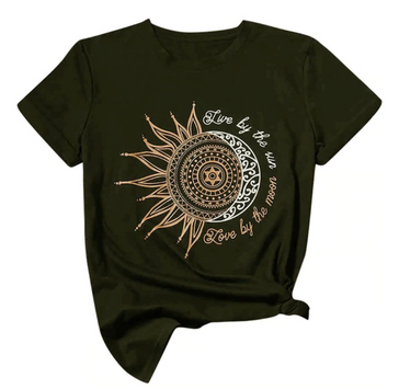 army green sun moon womens t shirt
