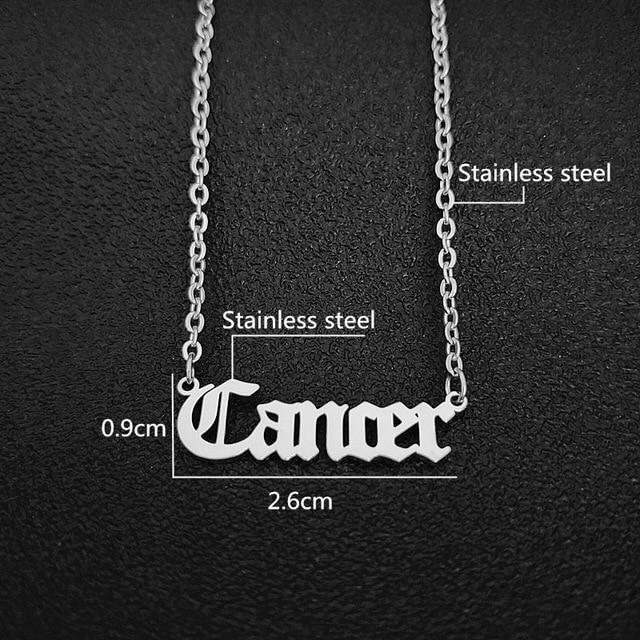 cancer script necklace silver