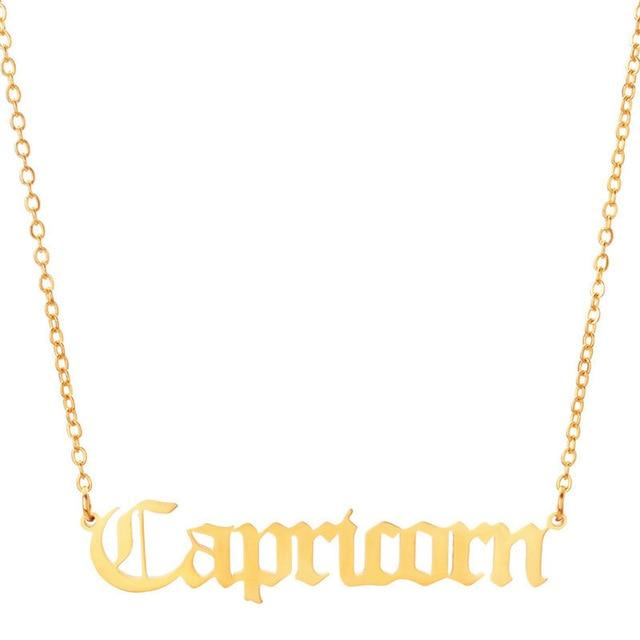 capricorn script necklace gold